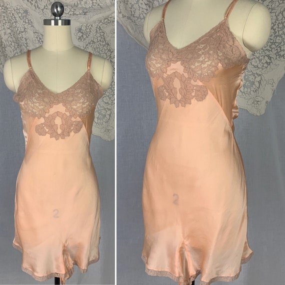 Vintage 1930's Teddy | Bold Apricot Silk with Taup