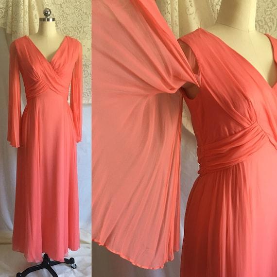 Vintage 1960's Dress   Coral Pink Rayon Chiffon wi