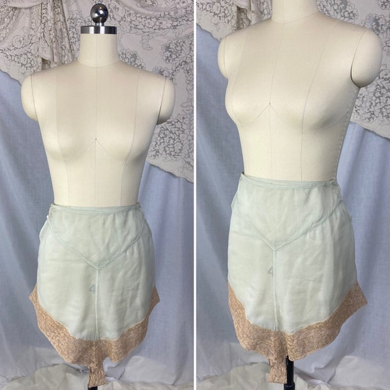 Antique 1920's Tap Pants | Sheer Mint Green Silk C