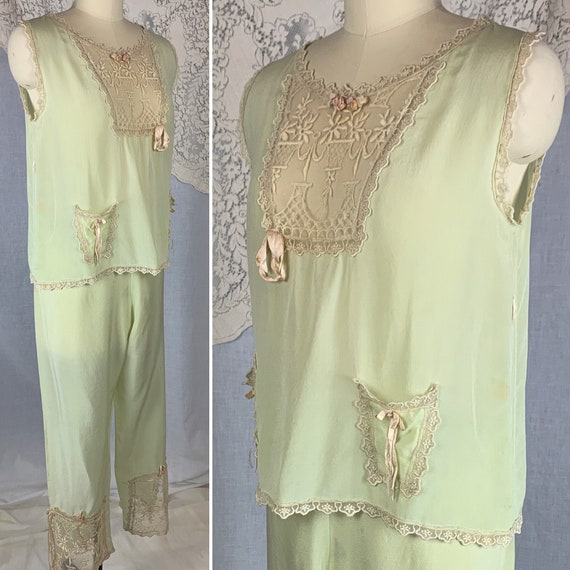 Antique 1920's Pajama Set | Pistachio Green Silk w