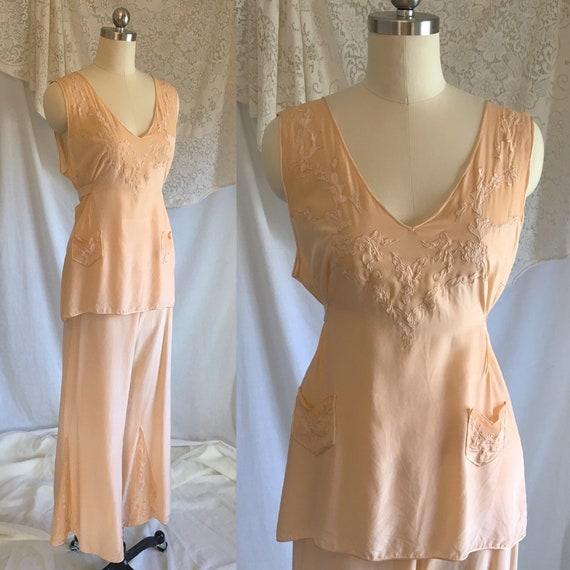 Vintage 1930's Beach Pajama Set | Rich Apricot Sil