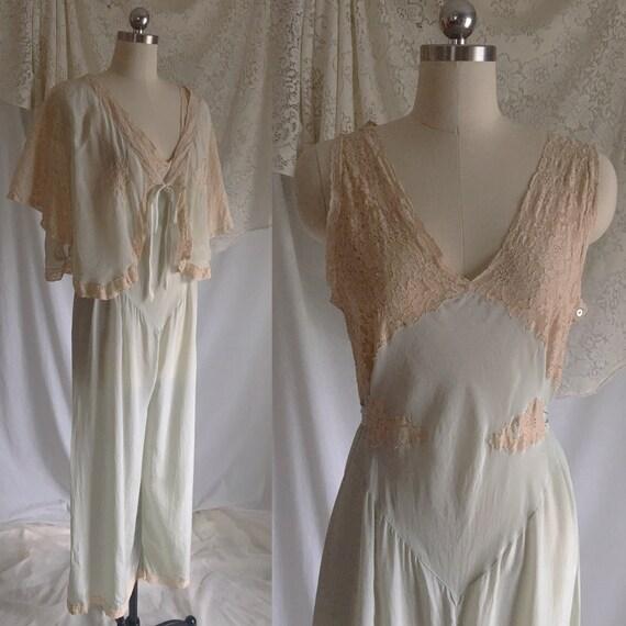 Vintage 1930 s Beach Pajama Set Pale Mint Green Silk    6fbfd96ac