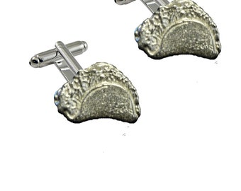 FT298 Taco 2.3x1.4cm Pair of Cufflinks Made From Fine English Modern Pewter