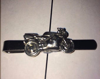 Sport Bike W30  Fine English Modern Pewter on a Tie Clip (slide) Made From English Modern Pewter cuff link cufflink
