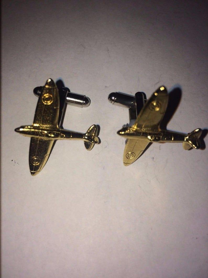 Spitfire Plane Gold Plated W44  Pair of Cufflinks Made From English Modern Pewter cuff link cufflink