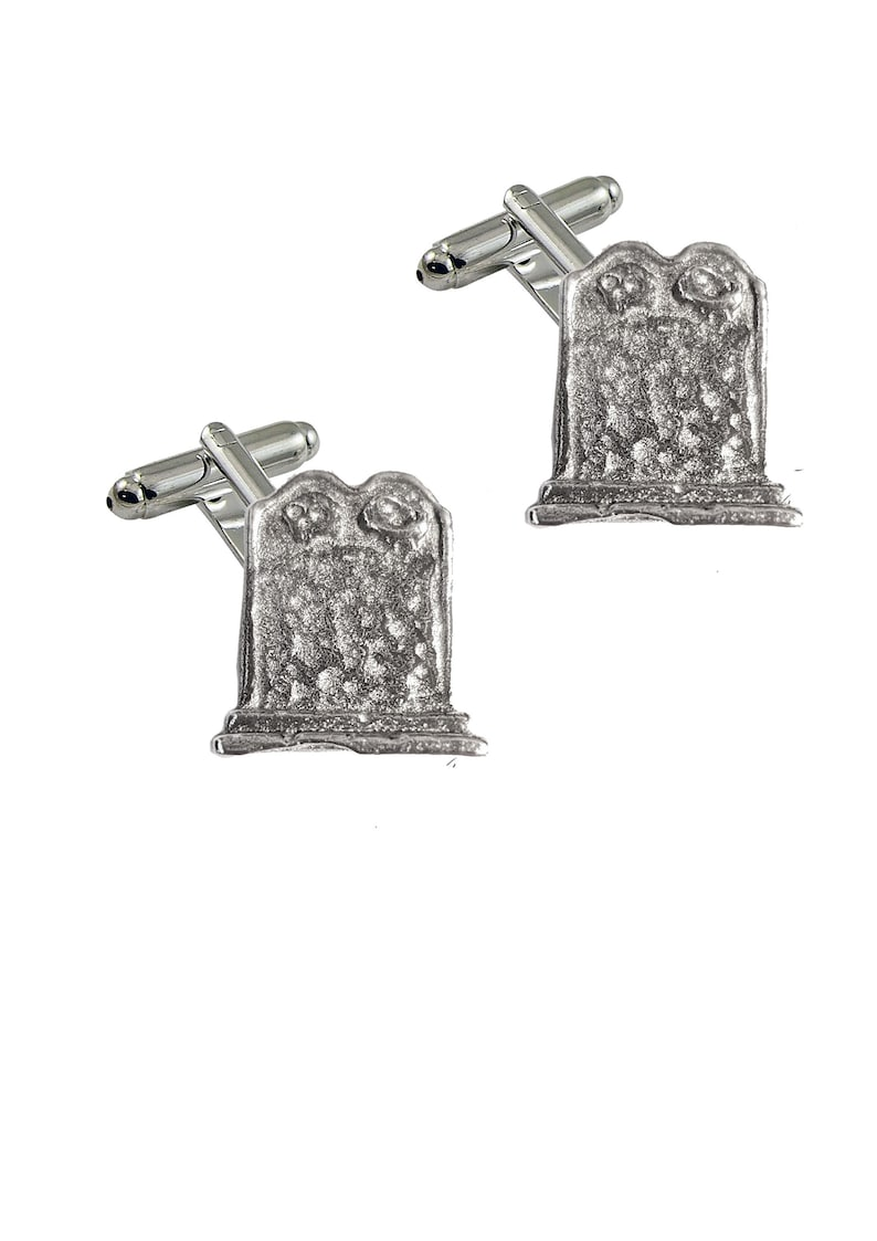 Graveyard Headstone Tombstone ft2 2cm X 2.2cm Pair of Cufflinks Made From Fine English Modern Pewter