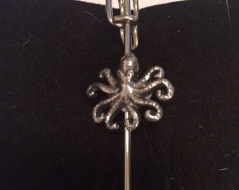 """Octopus W13 Scarf , Brooch and Kilt Pin Pewter 3"""" 7.5 cm Made From English Modern Pewter"""