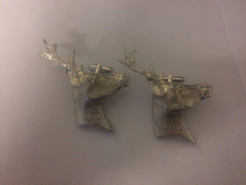 Reindeer Head TG440 Pair of Cufflinks Made From Fine English Modern Pewter