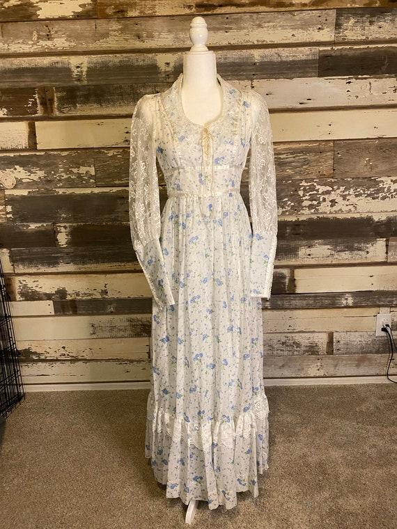 Vintage 70's Gunne Sax Hippie Boho Prairie Dress F