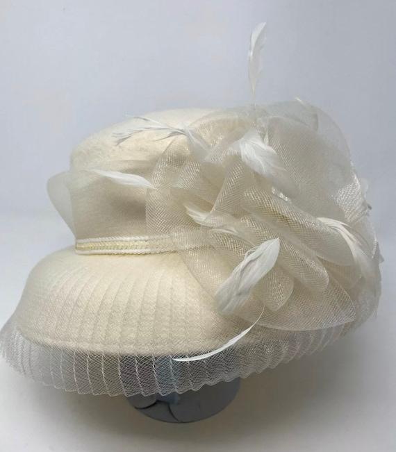 Vintage Off White Betmar Hat Mesh Flower W/ Feathe