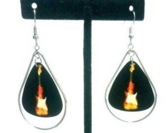 Flaming Electric Guitar Pick Earrings In Silver Teardrop Hoops