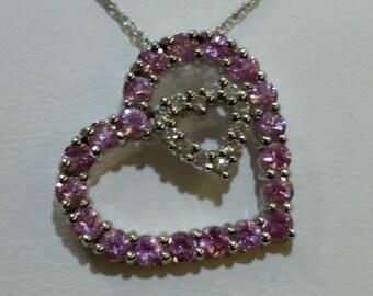 Valentine's Heart Shaped Genuine Diamond and Pink Sapphire Pendant 14k White Gold