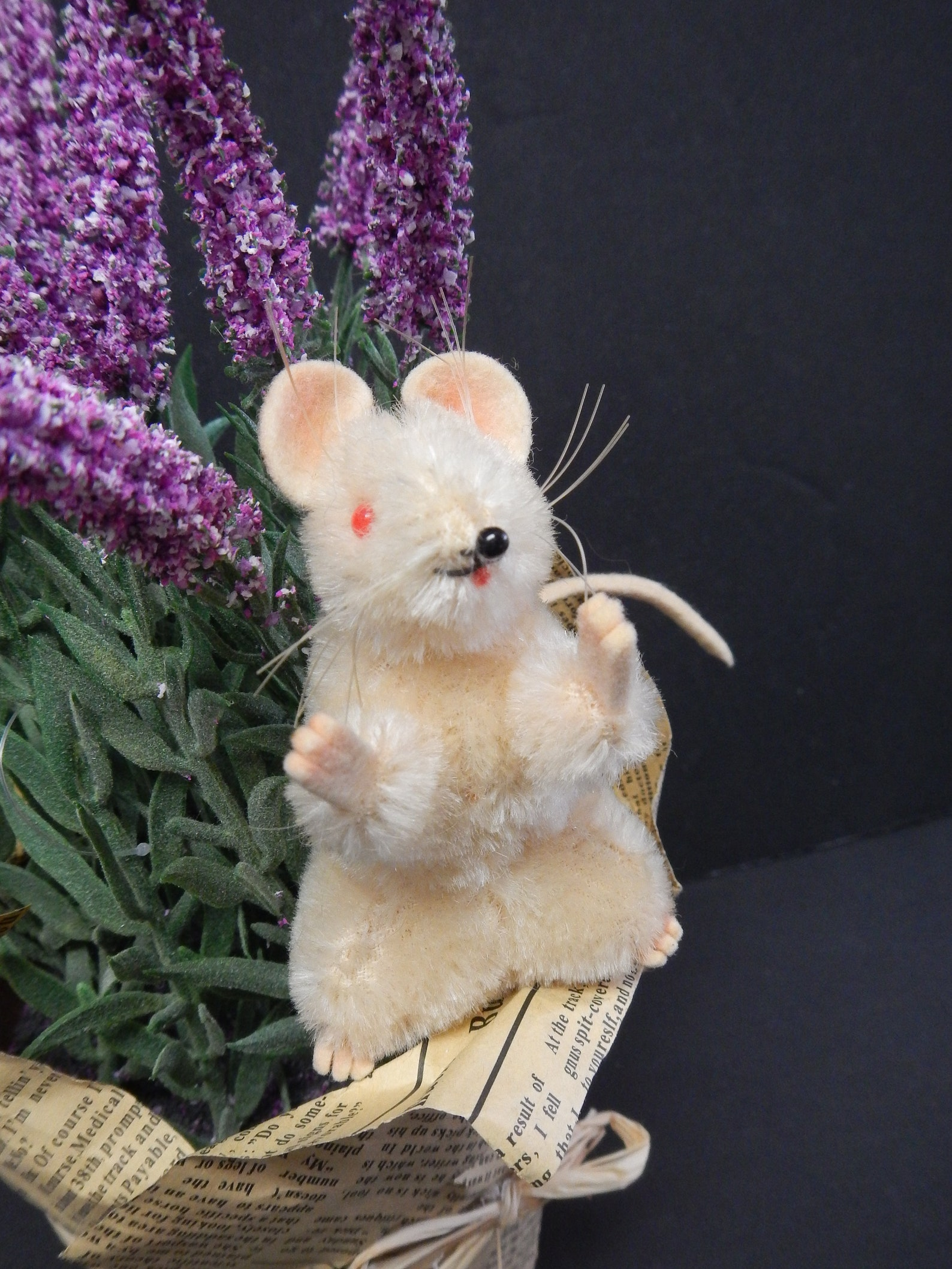 Steiff Pieps Mouse Mohair / Vintage 1950-60's/ Plush White / Red Eyes /1960s Bead Nose / Rare