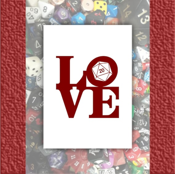 Dungeons And Dragons Geeky Or Nerdy Card D20 Love Funny Etsy