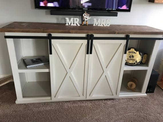 Barn Door Tv Stand With End Table And Coffee Table Etsy
