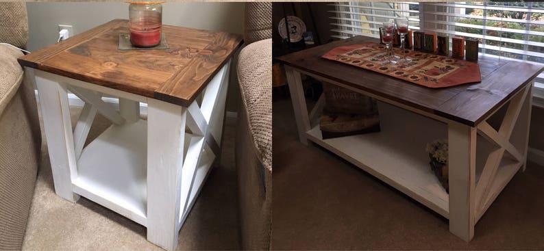 Rustic Farmhouse Coffee Table End Table Set Etsy