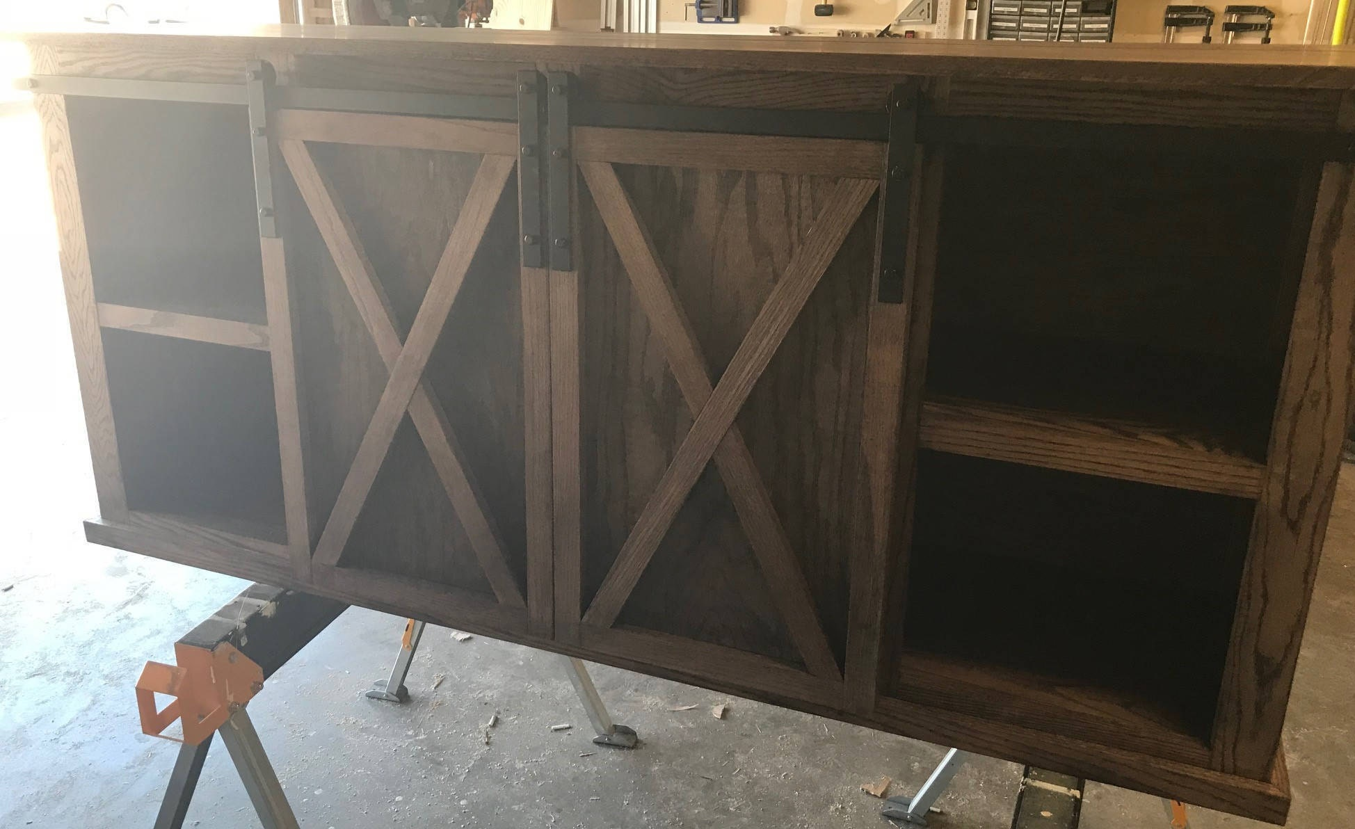 Oak Barn Door Tv Stand Media Console Etsy