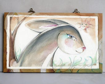 Original rabbit painting mounted