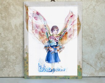 Winged girl surrounded by dancing fish archival print and painted mounted frame