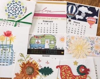 handmade 2018 desk calendar