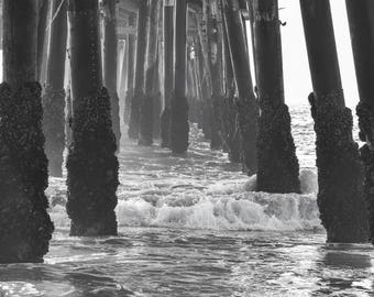 Pier Abstract Photography, Ocean Photography, Pier Photography, Beach Decor, Waves, Beach Art,Large Wall Art, Home Decor, Black and White
