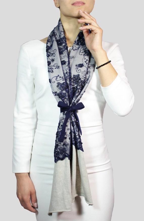 8a18f1287e86 Jeweled foulard écharpe avec dentelle foulard bleu châle   Etsy