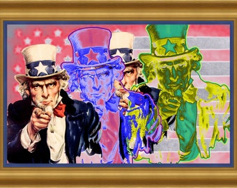Original Hand Signed Uncle Sam FREEDOM - Artist Nico Saval Limited Edition Giclee Canvas or Paper