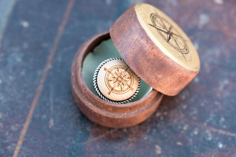 Wanderlust Travel Wedding Theme Compass Wood Ring Box