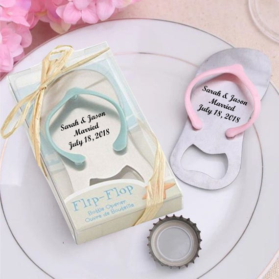 a5a9cc8aacf9 Personalized Beach Flip Flop Bottle Opener Party Wedding