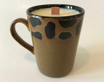 Cheetah coffee mug candle, black raspberry vanilla soy mug candle, scented wood wick candle, hand poured soy candle, coffee mug candle