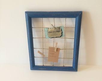 Rustic memo board, distressed farmhouse frame, farmhouse memo board, repurposed memo board, blue painted frame, repurposed frame board