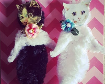 Vintage Style Kitten Cat Ornament Chenille  Ornament Primitive 226