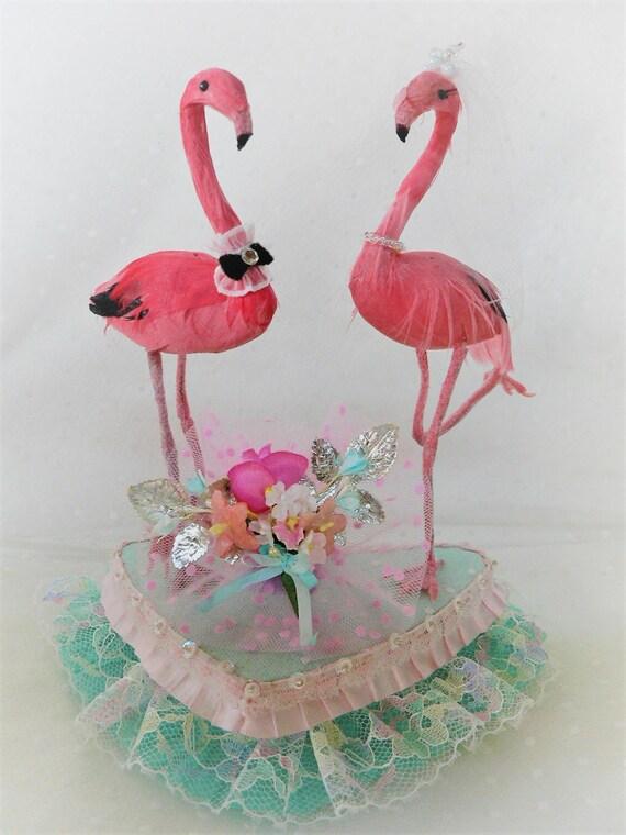 Mitte Jahrhundert Modern Kitsch Flamingos Hochzeitstorte Etsy