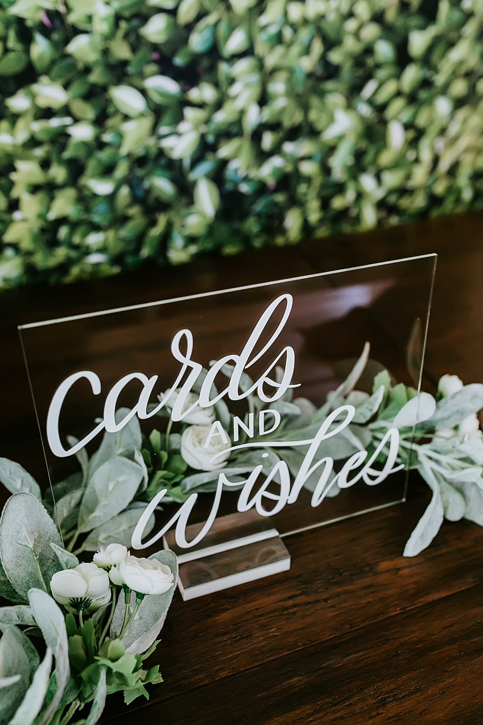 Cards And Wishes Modern Minimalist Clear Glass Look Acrylic Wedding Sign,  8x10 Gifts and Cards Lucite Perspex Table Sign, HL