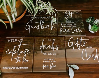 8x10 Sign Bundle of Guestbook, Gifts and Cards, In Loving Memory, Please Take One Clear Glass Acrylic Modern Calligraphy Wedding Sign, SIGNA