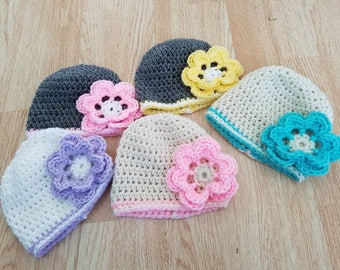 Baby girl beanie hat with flower