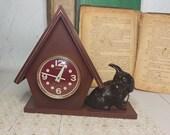 Vintage 60s Vintage Home decor Retro Clock the USSR Vintage decor Soviet clock Brown table clock with a dog Mechanical desk wind up clock