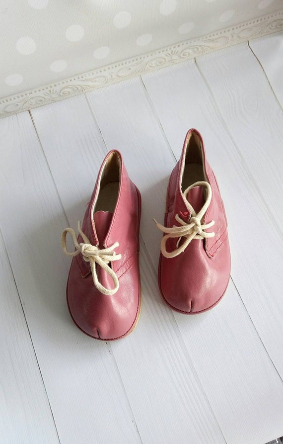 Leather Kids boots Pink Vintage Leather