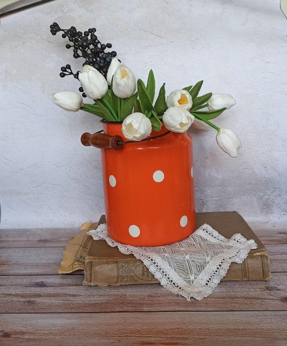 Enamel Milk Canister Retro Metal Flower Vase Vintage Home Etsy