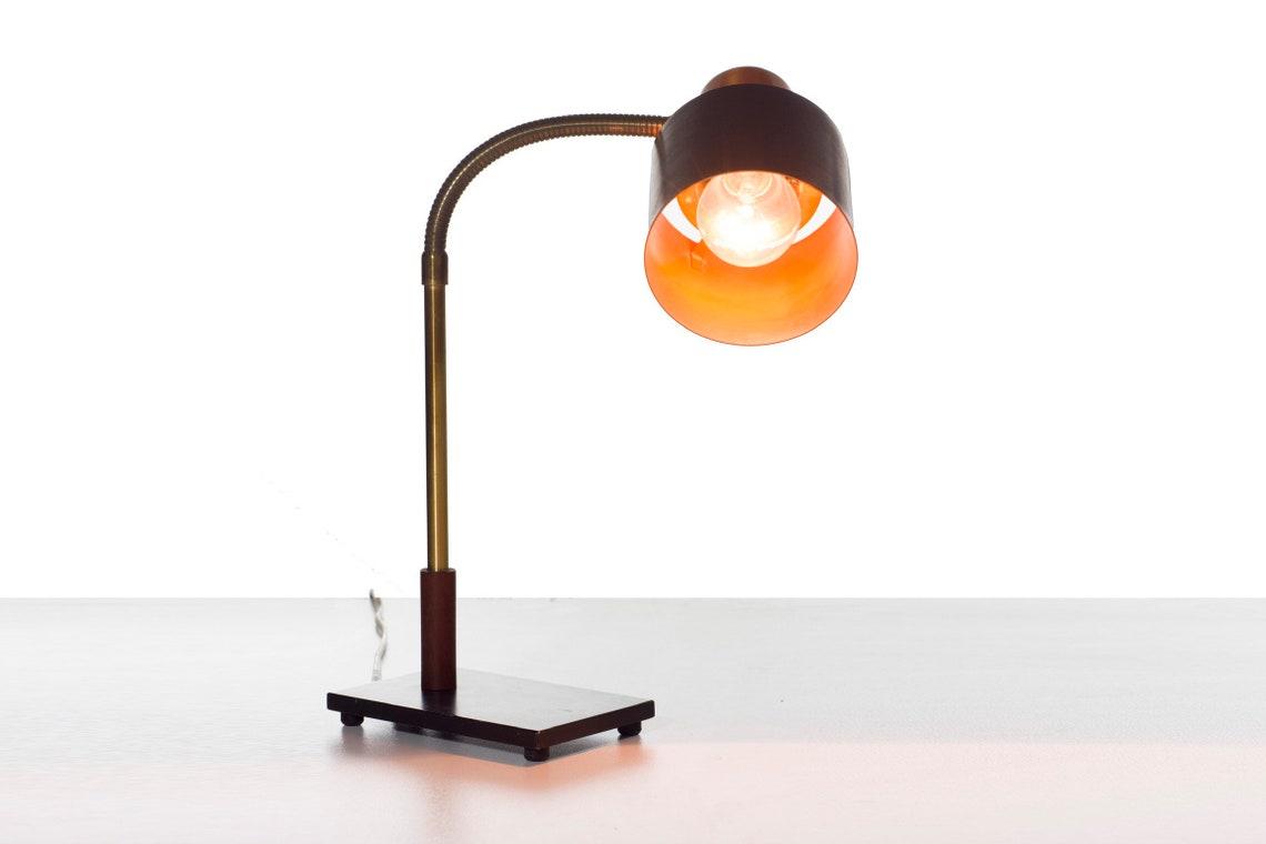 Jo Hammerborg Danish Vintage Copper Desk Lamp Beta For Fog And Morup Mid Century Modern Desk