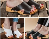 Swedish Open Toe Clogs For Women - Handmade Black White Brown Leather Sandals Wooden Soles - Ladies Wood Sweden Shoes - Many Sizes