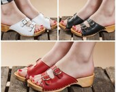 Swedish sandals for women, Wood and leather Open toe clogs women, Red Black White women sandals with wooden soles
