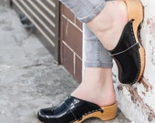 Swedish Leather Clogs For Women - Handmade Black Sandals With Wooden Soles - Ladies Wood Sweden Slip On Shoes - UK Size 3 4 5 6 7 8