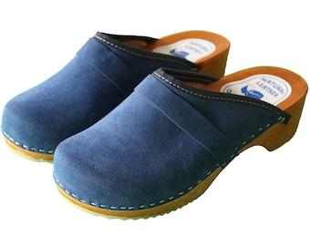 Handmade Swedish blue Velour clogs for women , unique Velour Hasbeens , comfortable wooden clogs