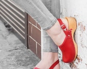 Swedish Leather Clogs For Women - Handmade Red Sandals With Wooden Soles - Ladies Wood Sweden Shoes With Strap - UK Size 3 4 5 6 7 8
