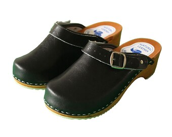 b08f486d97 Womens handmade black clogs and mules with support