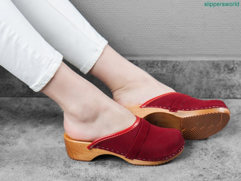 1f4007db822 Swedish Velour Clogs For Women - Handmade Blue Red Brown Sandals With  Wooden Soles - Ladies Wood Sweden Shoes - Many Sizes