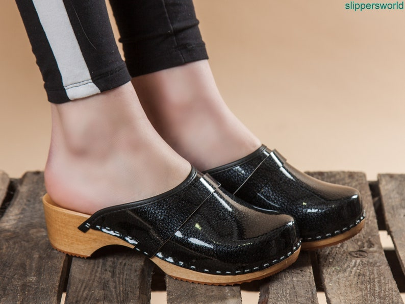 33f0b3e3d7f Swedish Leather Clogs For Women - Handmade Black Sandals With Wooden Soles  - Ladies Wood Sweden Slip On Shoes- UK Size 3 4 5 6 7 8