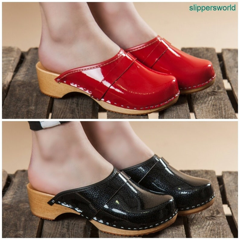 7ce9151223c Swedish Leather Clogs For Women - Handmade Red Black Sandals With Wooden  Soles - Ladies Wood Sweden Slip On Shoes - Many Sizes