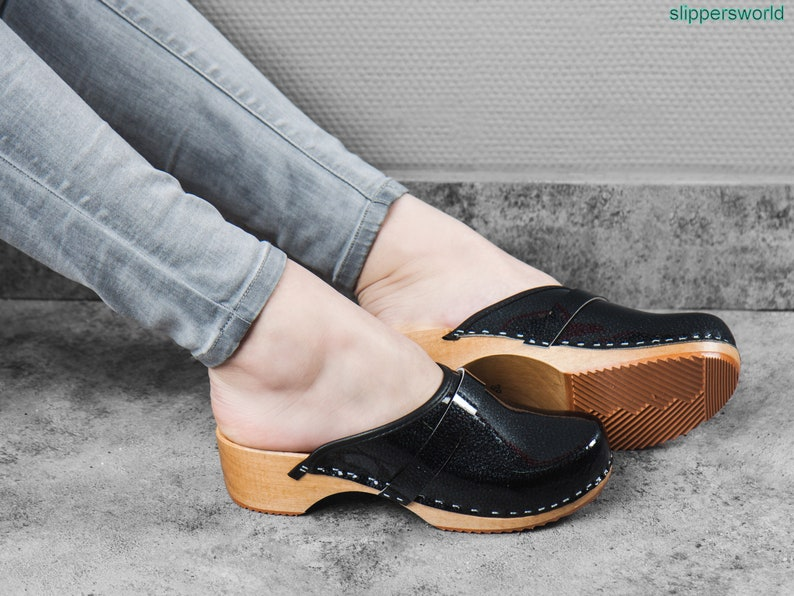 Handmade Black Sandals With Wooden Soles Ladies Wood Sweden Slip On Shoes Swedish Leather Clogs For Women UK Size 3 4 5 6 7 8